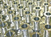 Rows of CNC machined parts
